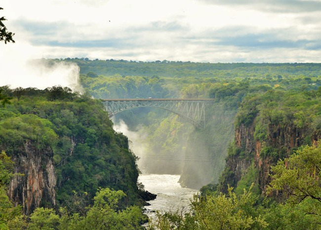View of the Victoria Falls Bridge where you can Bungee, Slide or Swing from