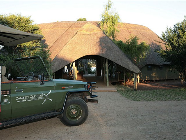 The guest entrance at Victoria Falls River Lodge
