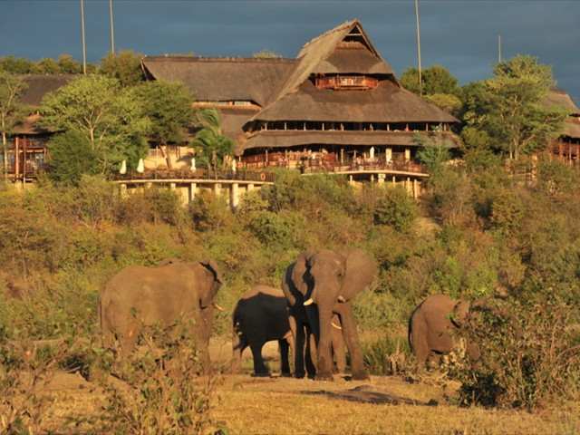 Huge thatched hotel in the African bush