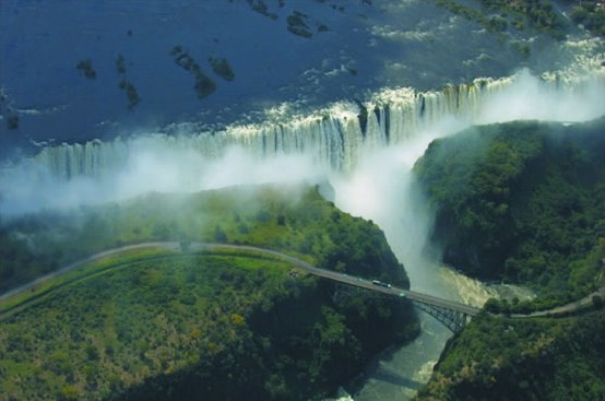 Aerial view of a very full Zambezi River where the water drops at Victoria Falls