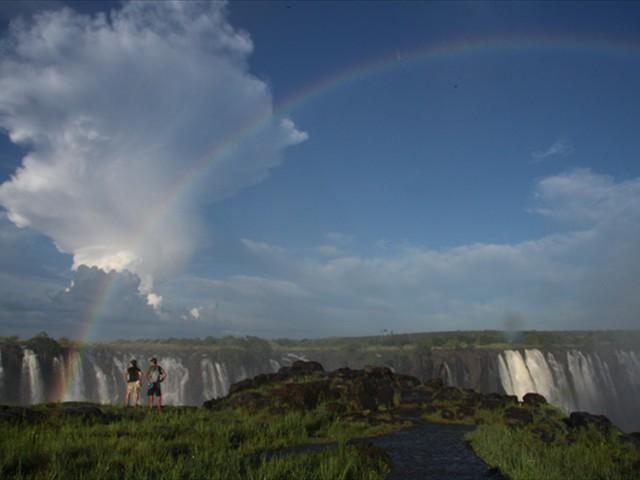Beautiful rainbow over the Falls
