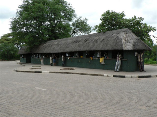 The curio market at the Victoria Falls parking area