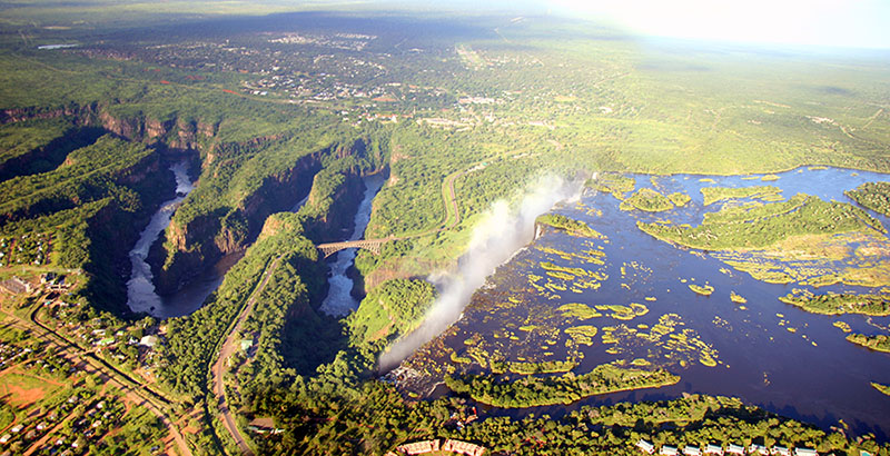 Aerial View of Victoria Falls Gorges