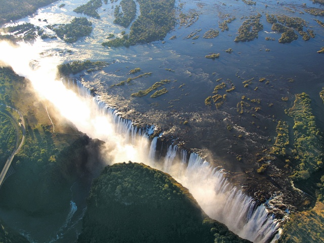 Aerial view of the Victoria Falls - lagest waterfall in the world
