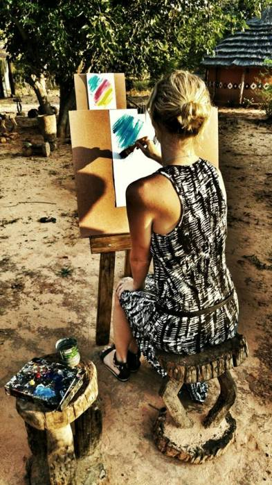 Paining workshop at a village in Victoria Falls