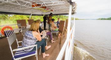 A breakfast river cruise painting workshop on the Zambezi River in Victoria Falls - Zimbabwe