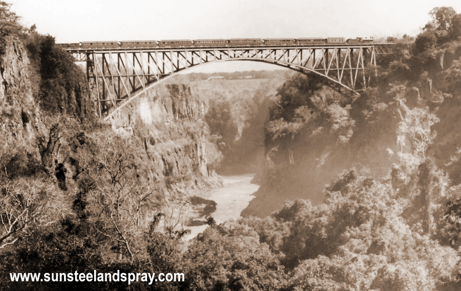 The completed Victoria Falls Bridge betweeen Zimbabwe and Zambia