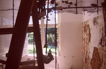 A bathroom being demolished before reconstruction