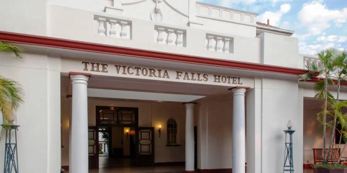 The entrance to the Victoria Falls Hotel