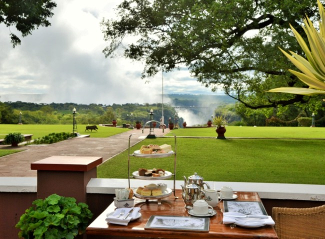 The view from the terrace at the Victoria Falls Hotel - Victoria Falls, Zimbabwe
