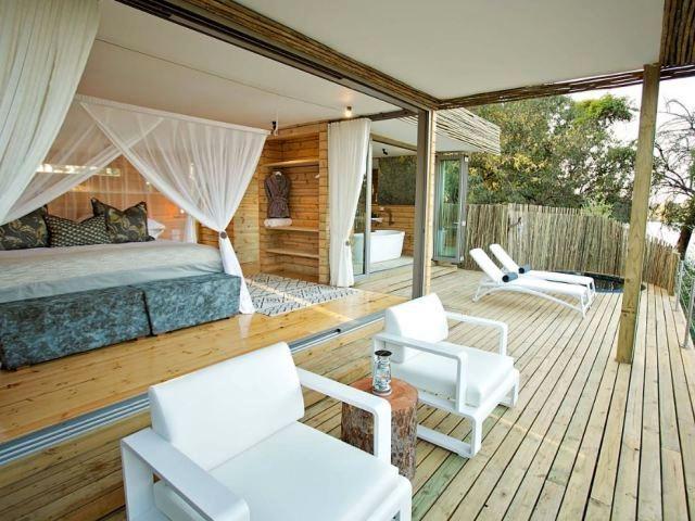 Luxurious interiors at Victoria Falls Island Lodge, Zimbabwe
