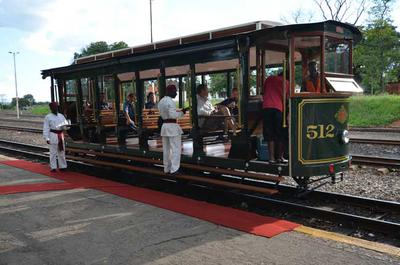 The tram is a modern built replica of a classic 1890s model