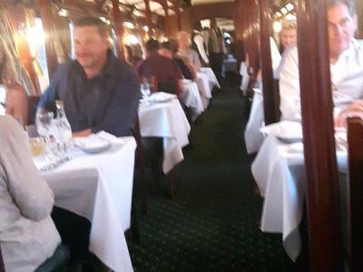 Inside the dinner train