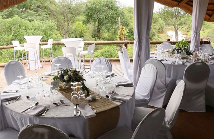 The reception area at The Wallow is ready for a wedding - Victoria Falls, Zimbabwe