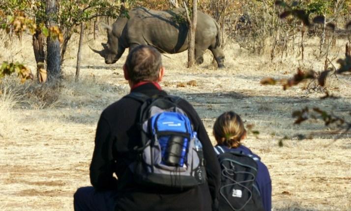 Rhino walk and encounter near Victoria Falls