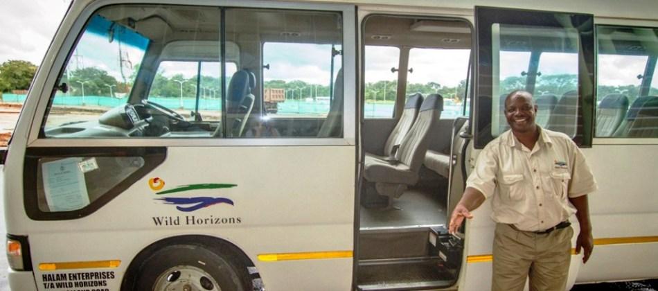 Wild Horizons transfer vehicle in Victoria Falls, Zimbabwe