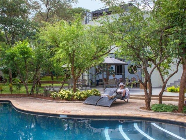 Pool and luscious garden