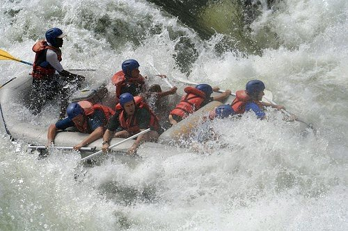 White water rafting on the mighty Zambezi River - Victoria Falls, Zimbabwe