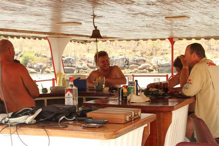 Good times by the houseboat bar