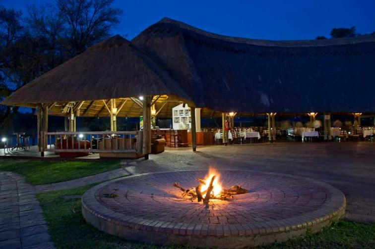 The fire pit near the pool