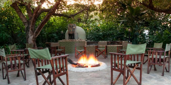 The fire pit, boma area, pizza oven