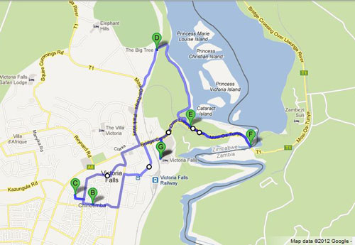 The route travelled during a Victoria Falls bike tour
