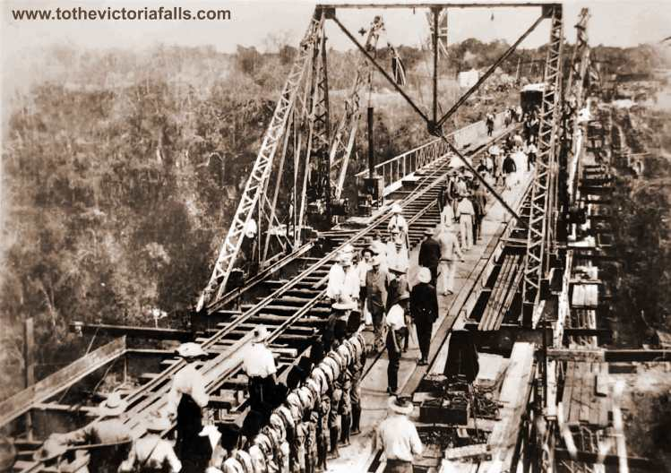 The Victoria Falls Bridge with the temporary train track
