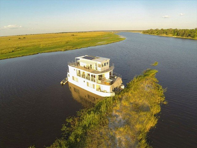 The scene of the Chobe Princess on the Chobe River