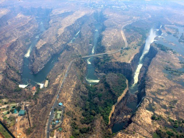 Aerial view of the Victoria Falls from a helicopter