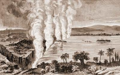 The Victoria Falls of the Zambesi River (from Livingstone's Missionary Travels)