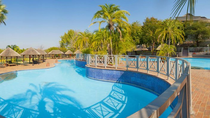 The massive pool area