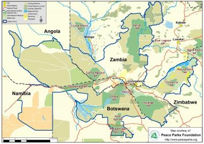 The blue line shows the border of the mammoth Kaza Transfrontier Conservation Area. Map provided by the Peace Parks Foundation.