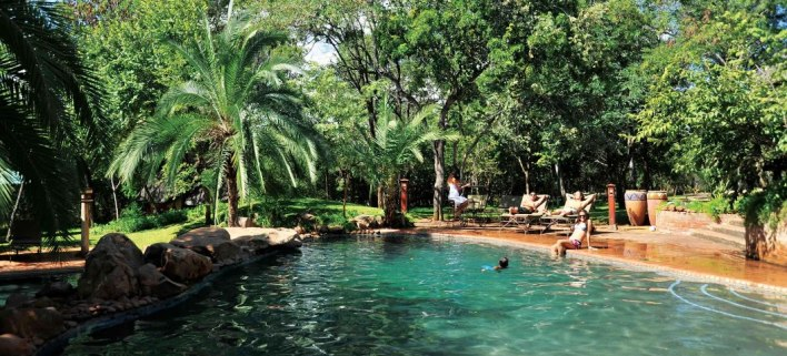 The swimming pool at Lokuthula Lodges