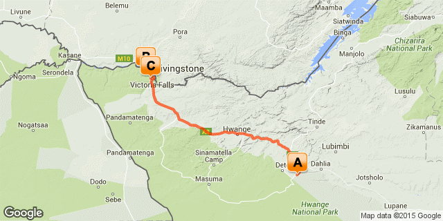 Route map for a 7 night Hwange, Victoria Falls safari