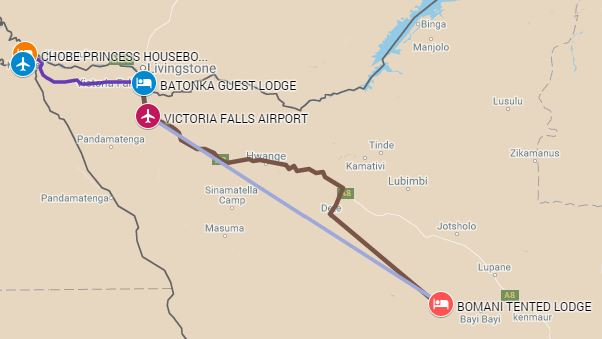 Map of safari itinerary from the Chobe River luxury houseboat to Victoria Falls and Hwange National Park