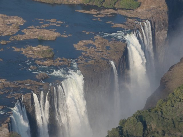 The Victoria Falls seen from a helicopter - September 2019