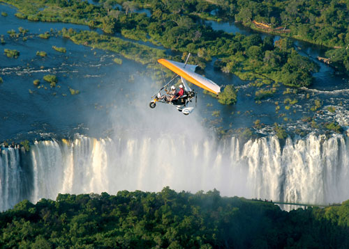Microlight flying over Victoria Falls