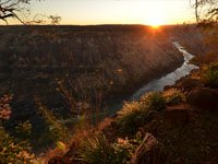 View of the gorges with the Zambezi River below at Gorges Lodge near Victoria Falls, Zimbabwe