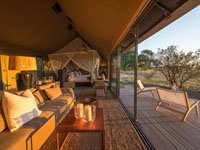 Spacious safari rooms at Linkwasha Camp, Hwange National Park, Zimbabwe