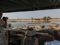 The game-viewing hide at Little Makalolo Camp. See wildlife from a safe distance