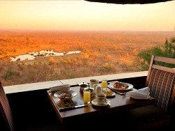 Dining with a view at Victoria Falls Safari Lodge, Zimbabwe