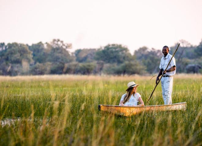 Traditional makoro canoe trip