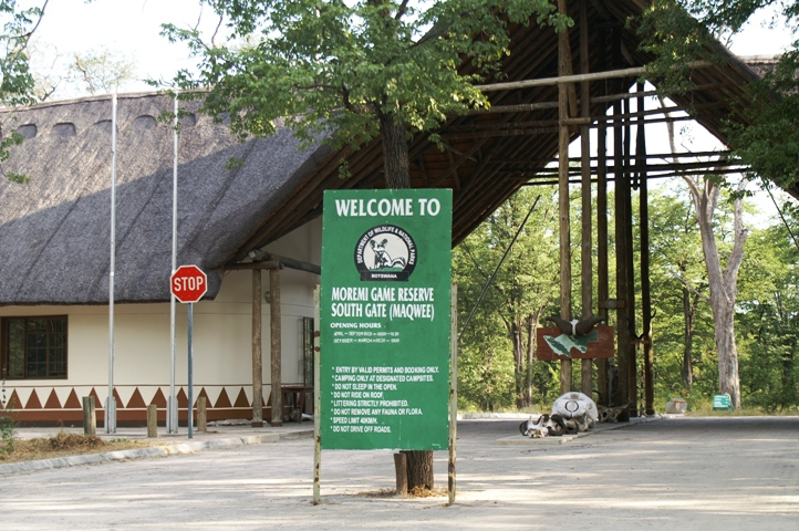 The South Gate entrance into Moremi Game Reserve and the Okavango Delta (Botswana). Accessible from Maun.