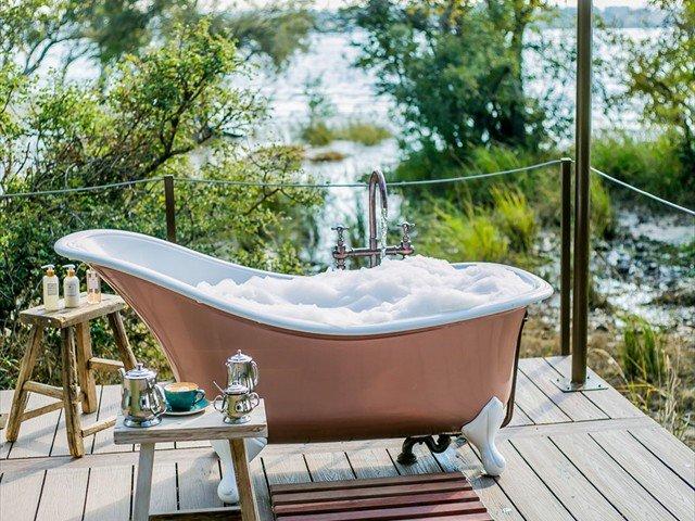 Romantic outside bath