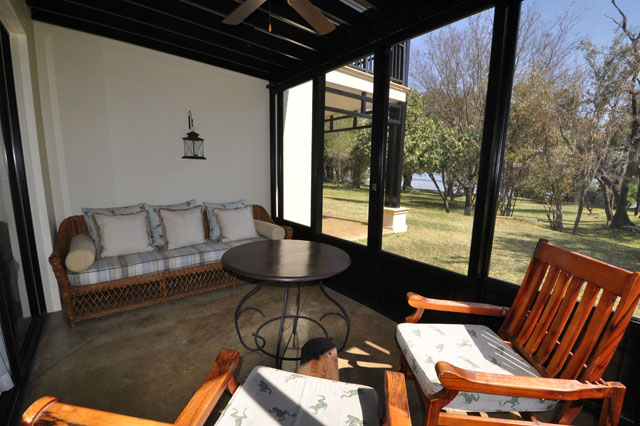 The veranda of a corner room of The Royal Livingstone