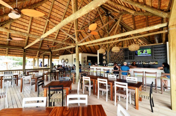 The restaurant under thatched shade