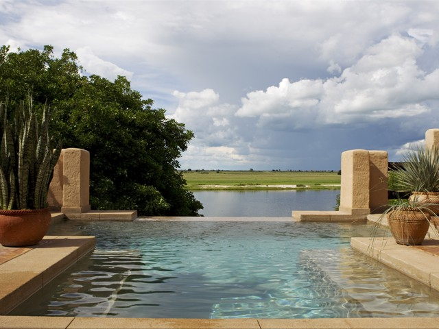 Infinity pool by the Chobe River at Chobe Game Lodge in Botswana