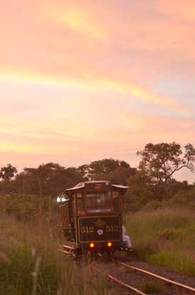 Victoria Falls Tram and sunset