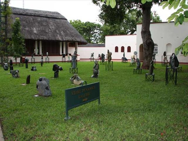 Stone scultures set in a garden