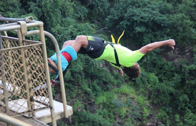 Back flip bungee at the Victoria Falls Bridge between Zimbabwe and Zambia - over the Zambezi River!